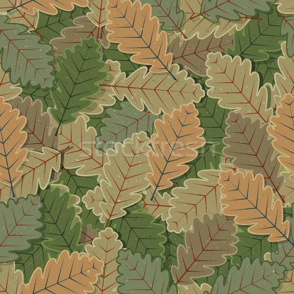 Stock photo: Seamless Oak Tree Leaves Background