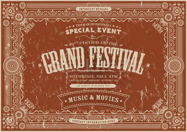 Vintage ретро фестиваля плакат иллюстрация горизонтальный Сток-фото © benchart
