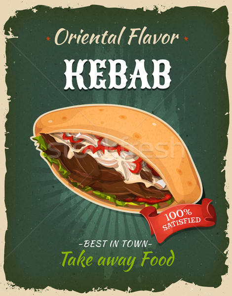 Retro fast food kebab sandwich poster illustratie Stockfoto © benchart