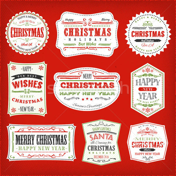 Vintage Christmas Frames, Banners And Badges Stock photo © benchart