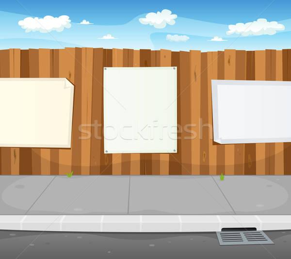 Pusty znaki miejskich drewna ogrodzenia ilustracja Zdjęcia stock © benchart
