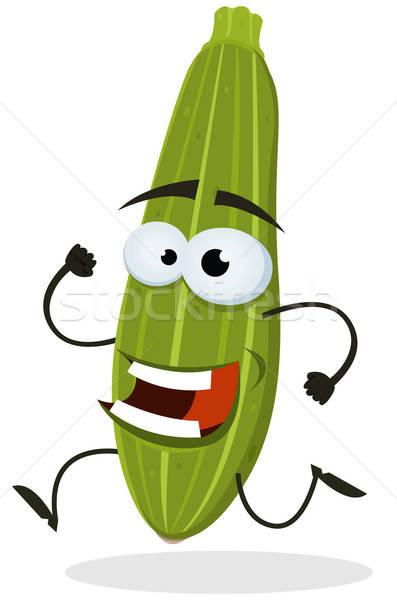 Rajz boldog cukkini karakter illusztráció vicces Stock fotó © benchart