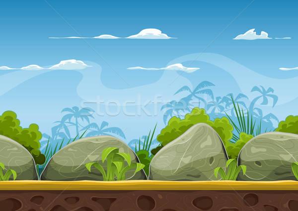 Tropikal plaj manzara ui oyun örnek Stok fotoğraf © benchart