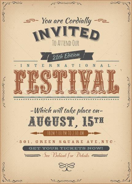 Vintage festiwalu zaproszenie plakat ilustracja retro Zdjęcia stock © benchart