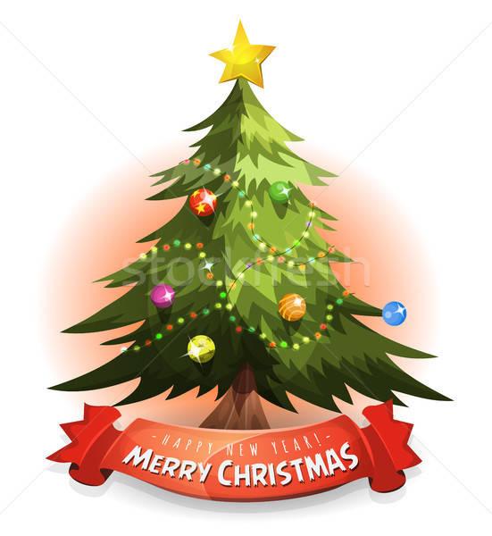 Kerstboom wensen banner illustratie cartoon vrolijk Stockfoto © benchart