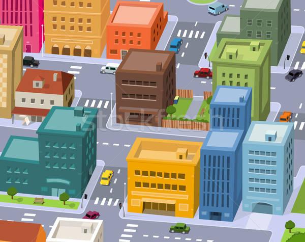 Cartoon City - Downtown Scene Stock photo © benchart