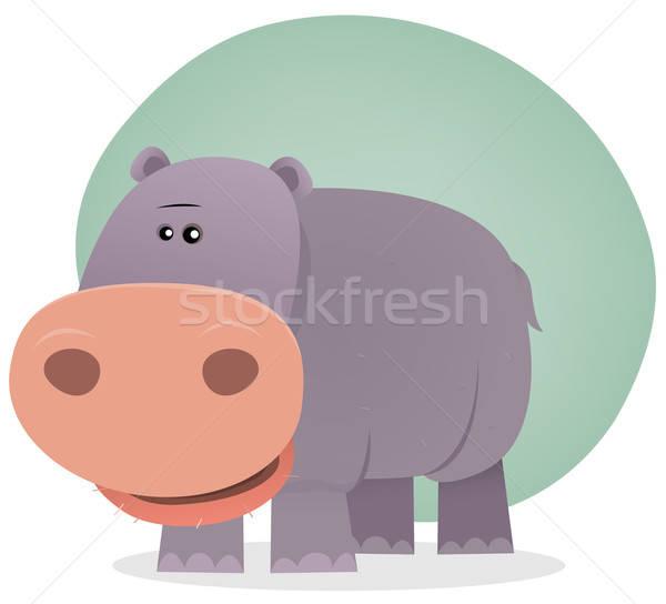 Cute cartoon hipopotam ilustracja malutki hipopotam Zdjęcia stock © benchart