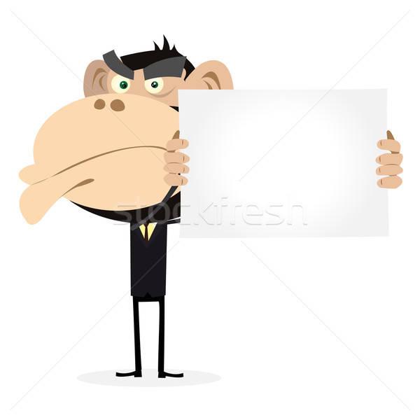 Majom üzletember tart üres tábla illusztráció rajz Stock fotó © benchart