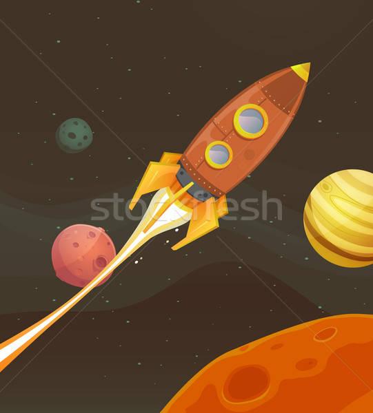 Rocket Ship Flying Through Space Stock photo © benchart