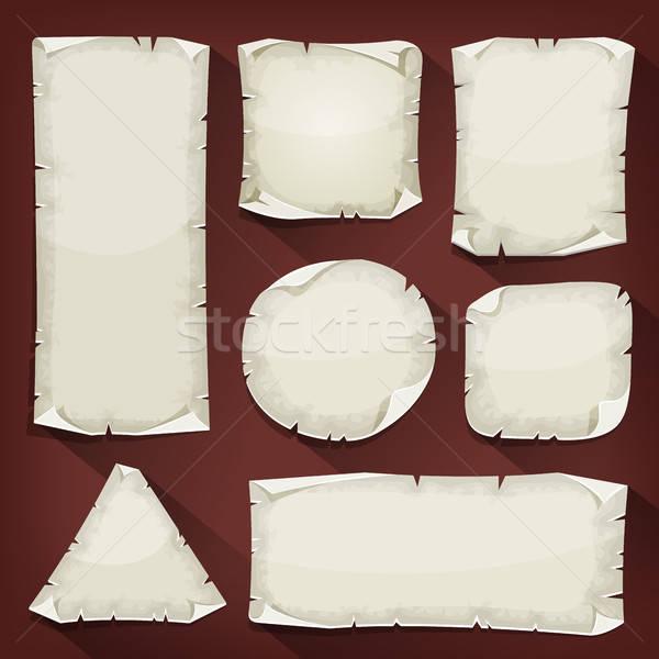 старые рваной бумаги набор иллюстрация Cartoon пусто Сток-фото © benchart