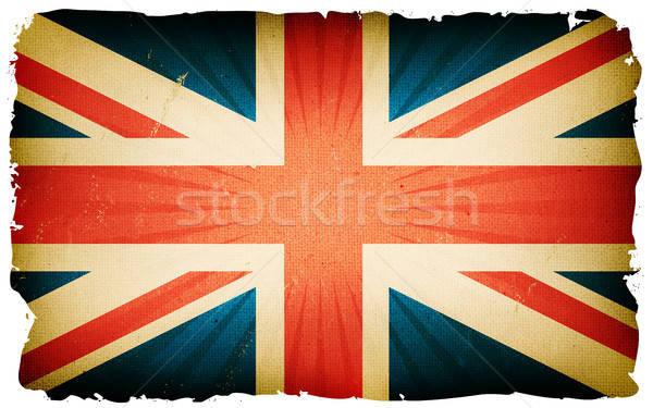Klasszikus angol zászló poszter illusztráció angol vidék Stock fotó © benchart