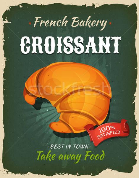 Retro frans croissant poster illustratie ontwerp Stockfoto © benchart