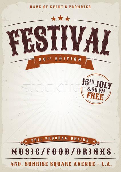 Festival di musica grunge poster illustrazione vintage vecchio Foto d'archivio © benchart