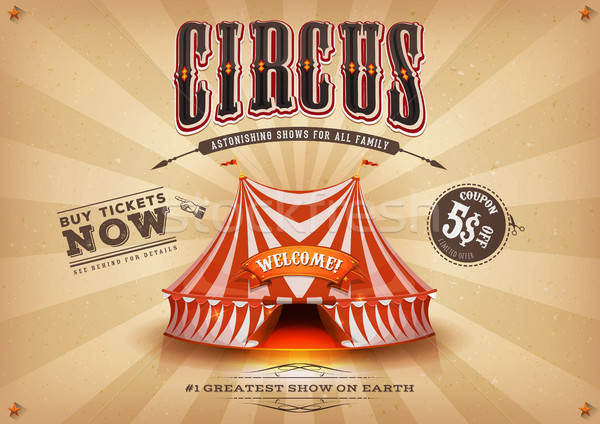 Vintage Old Horizontal Circus Poster Stock photo © benchart
