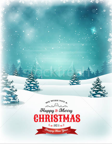 Vintage Christmas And New Year Landscape Stock photo © benchart