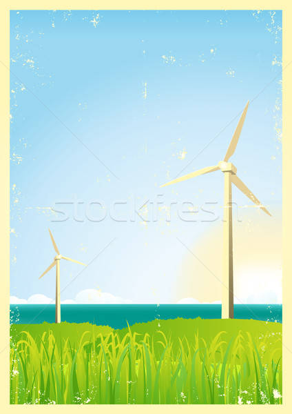Grunge Windmills In The Ocean Stock photo © benchart