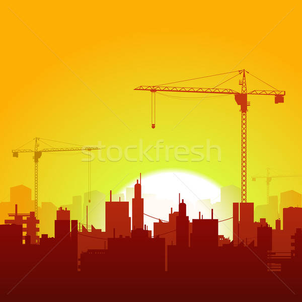 Sunrise Cranes And Construction Background Stock photo © benchart