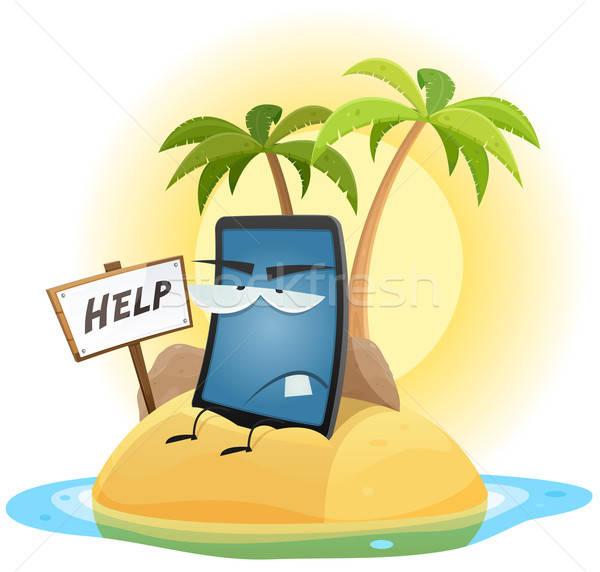 Cep telefonu teknoloji gemi enkazı örnek karikatür manzara Stok fotoğraf © benchart