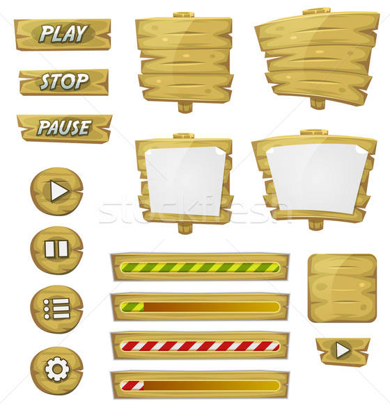 Cartoon Wood Elements For Ui Game Stock photo © benchart