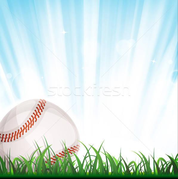 Baseball ilustracja amerykański piłka wewnątrz trawy Zdjęcia stock © benchart