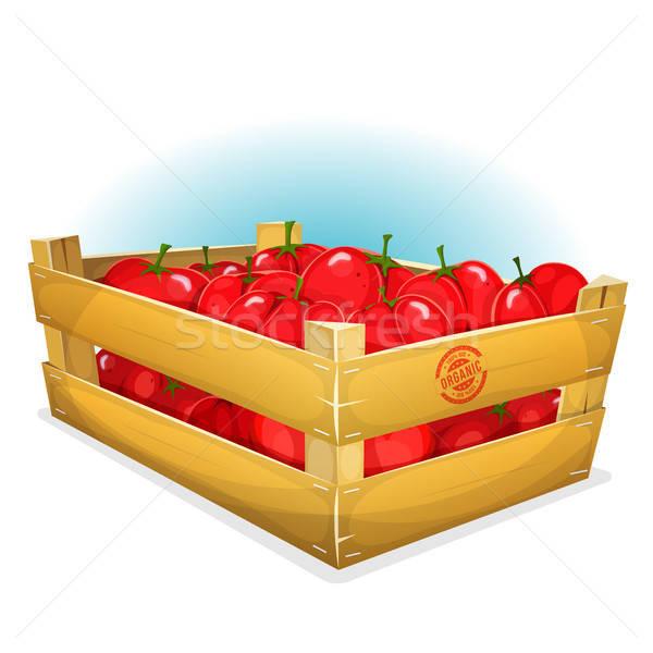 Skrzynia pomidory ilustracja cartoon drewna zestaw Zdjęcia stock © benchart