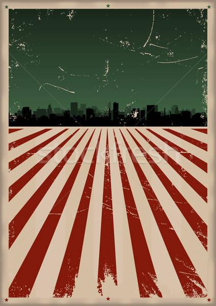 Dördüncü poster örnek doğum günü bayrak Cityscape Stok fotoğraf © benchart