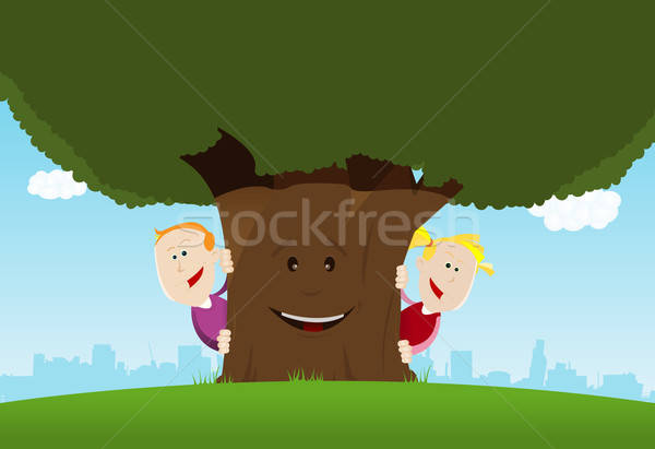 Happy Kids And Friendly Tree Stock photo © benchart