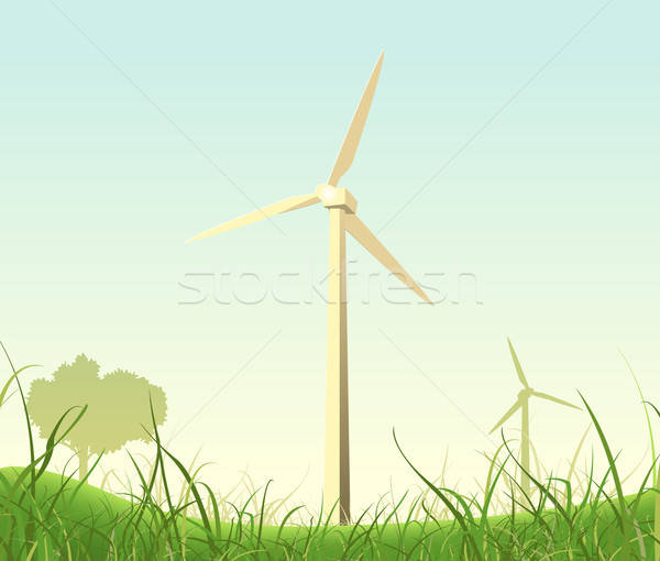 Spring And Summer Windmills Poster Stock photo © benchart