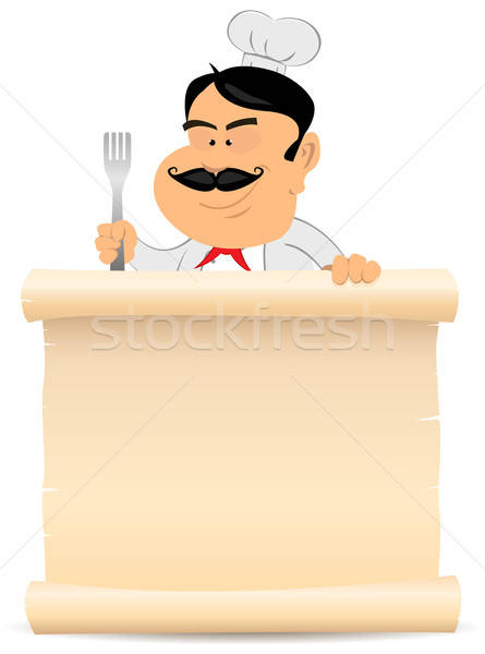 Chef Cook Holding Parchment Menu Stock photo © benchart