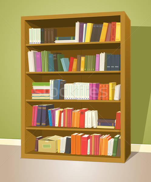 Library Bookshelf Vector Illustration Benoit Chartron