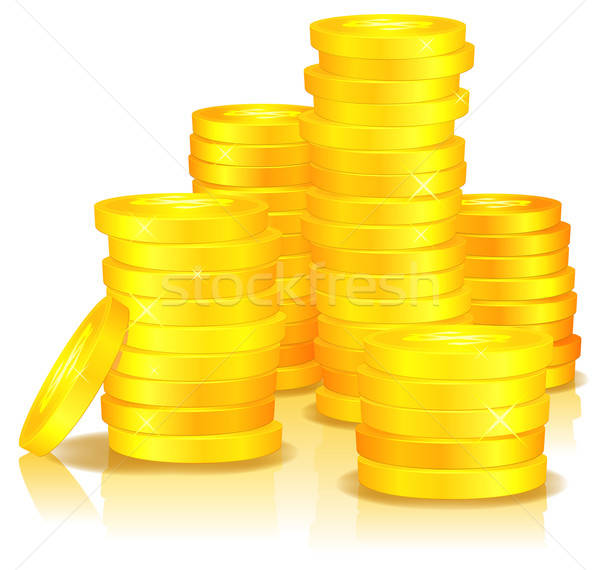 Or pièces illustration argent cartoon dollar Photo stock © benchart
