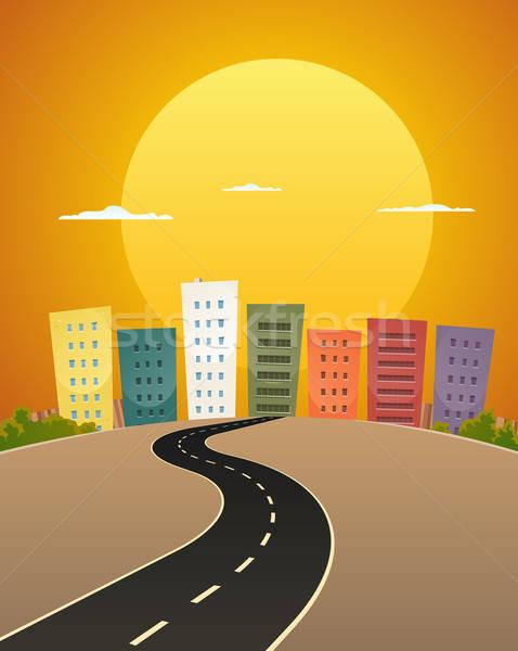 закат иллюстрация Cartoon городской улице дороги Восход Сток-фото © benchart