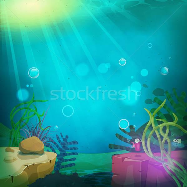 Vicces tengeralattjáró óceán tájkép illusztráció rajz Stock fotó © benchart