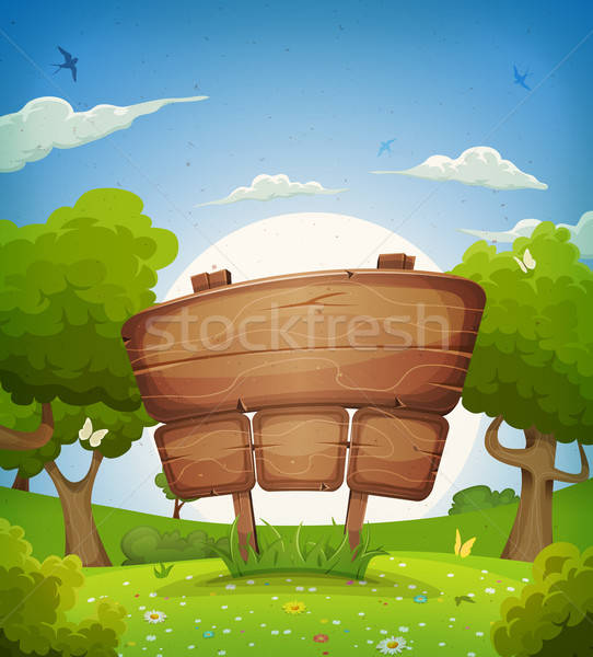 Spring And Summer Landscape With Wooden Sign Stock photo © benchart