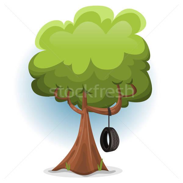 смешные весны дерево Swing шин иллюстрация Сток-фото © benchart