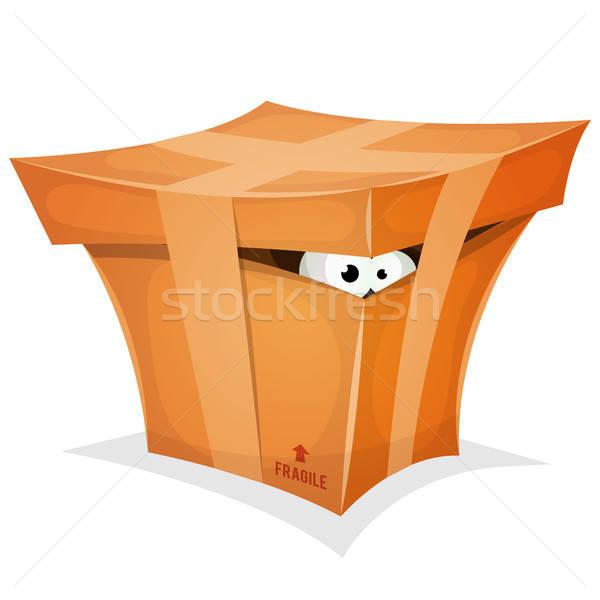 Funny regalo caja de cartón ilustración Cartoon ojos Foto stock © benchart
