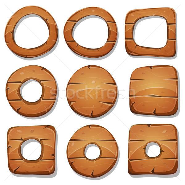 Madeira anéis círculos formas ui jogo Foto stock © benchart