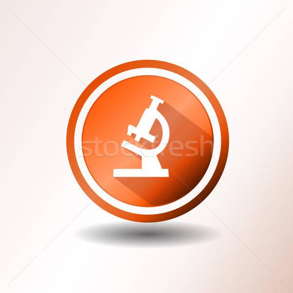 Mikroskopem ikona projektu ilustracja pomarańczowy badań Zdjęcia stock © benchart