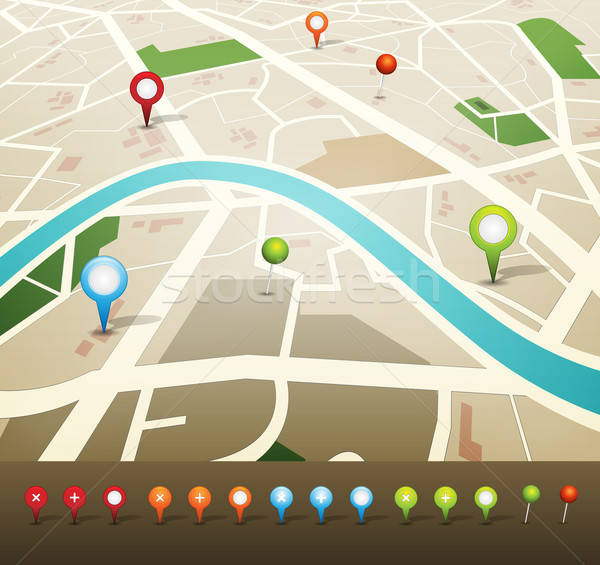 Street Map With GPS Pins Icons Stock photo © benchart
