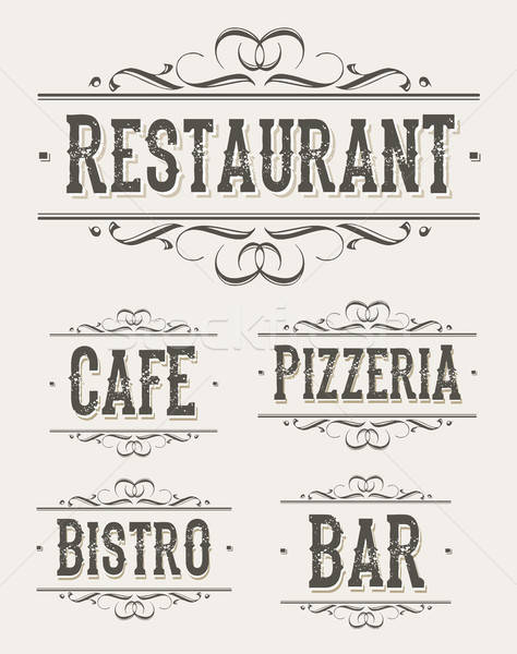 Vintage Restaurant And Pizzeria Banners Stock photo © benchart