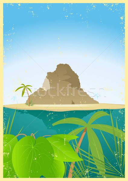 Poster illustrazione tropicali montagna Foto d'archivio © benchart