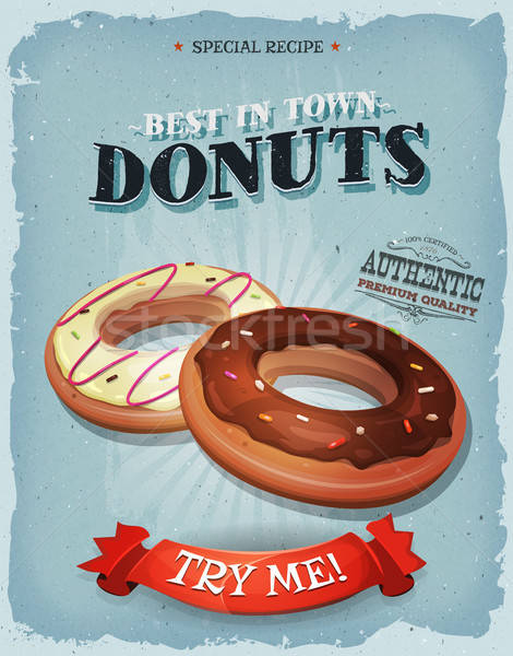 Grunge And Vintage American Donuts Poster Stock photo © benchart