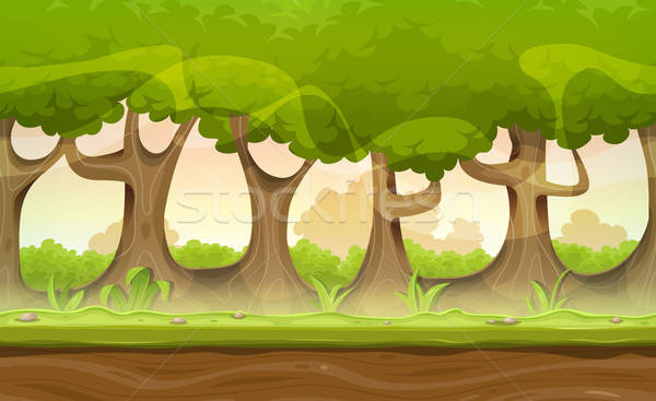 Seamless Forest Trees And Hedges Landscape For Game Ui Stock photo © benchart