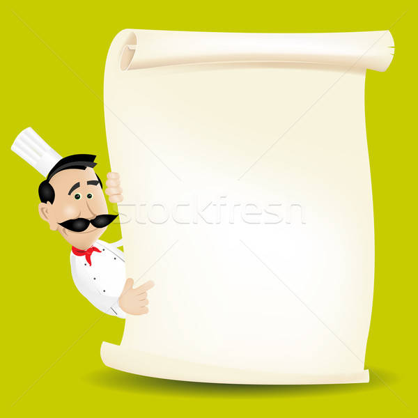 Chef menu pergamena illustrazione cartoon Foto d'archivio © benchart