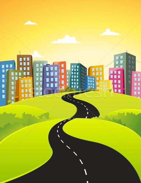 Ciudad carretera ilustración hermosa Cartoon centro de la ciudad Foto stock © benchart