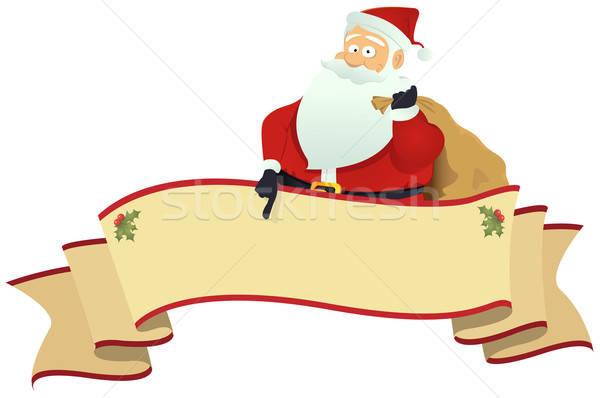 Blättern Banner Illustration Hinweis Weihnachten Stock foto © benchart