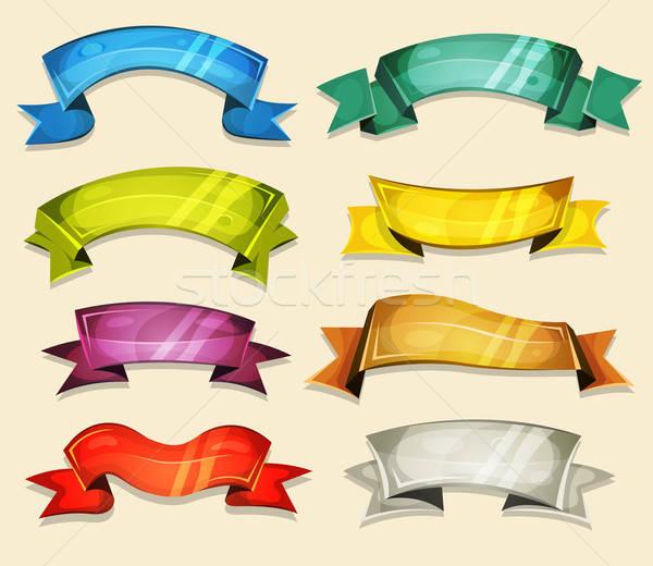 Képregény bannerek szalagok szett ui játék Stock fotó © benchart