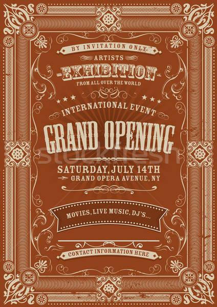 Vintage uitnodiging illustratie opening tentoonstelling Stockfoto © benchart