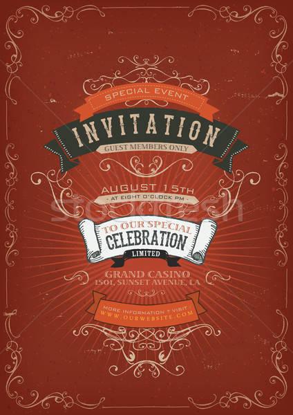 Vintage zaproszenie plakat ilustracja wakacje Zdjęcia stock © benchart