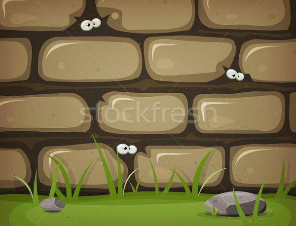 Zdjęcia stock: Oczy · wewnątrz · wiejski · mur · ilustracja · cartoon